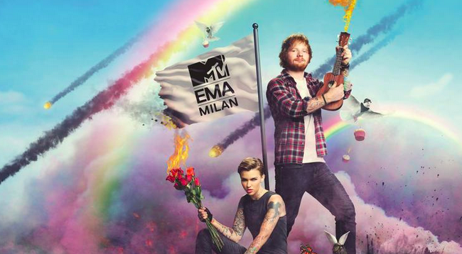 Ed Sheeran and Ruby Rose together for the MTV EMA
